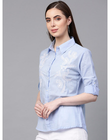 Bhama Couture Women Blue Regular Fit Embroidered Casual Shirt