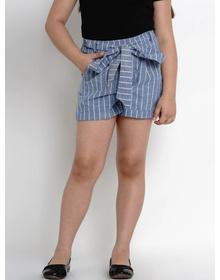 Bitiya by Bhama Girls Blue & White Striped Regular Fit Regular Shorts