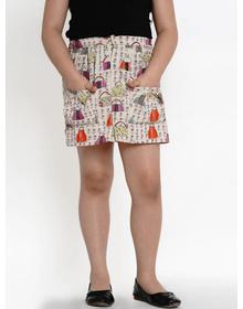 Bitiya by Bhama Girls Beige & Pink Printed Pencil Mini Skirt