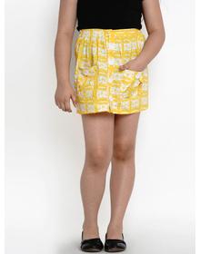 Bitiya by Bhama Girls Yellow & White Printed Pencil Mini Skirt