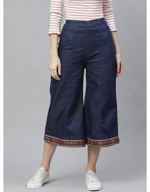 Bhama Couture Blue High Rise Culotte With Zip Closure
