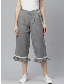 Bhama Couture White and Black High Rise Check Culotte