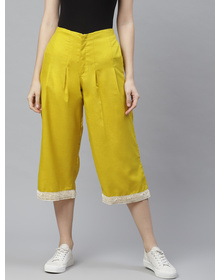 Bhama Couture Women Mustard Yellow High-Rise Smart Loose Fit Solid Culottes