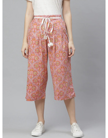 Bhama Couture Women Pink & Mustard Yellow High-Rise Smart Loose Fit Printed Culottes