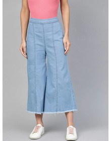 Bhama Couture Women Blue Smart Loose Fit High Rise Denim Cropped Parallel Trousers