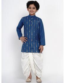 BITTU BY BHAMA BLUE KURTA WITH OFFWHITE DHOTI SET