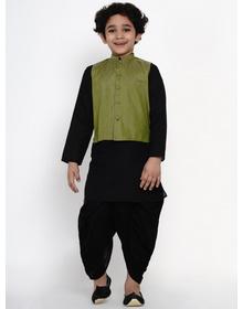 BITTU BY BHAMA BLACK DHOTI KURTA WITH GREEN WAISTCOAT SET