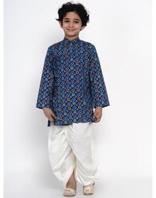 BITTU BY BHAMA BLUE BANDHEJ KURTA WITH OFFWHITE DHOTI SET