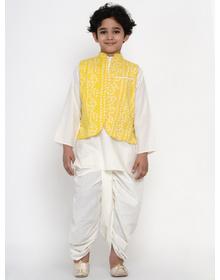 BITTU BY BHAMA WHITE DHOTI KURTA WITH YELLOW WAISTCOAT SET