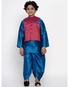 BITTU BY BHAMA BLUE DHOTI KURTA WITH PINK WAISTCOAT SET