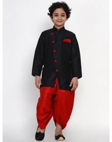 BITTU BY BHAMA RED DHOTI WITH BLACK JACKET SET