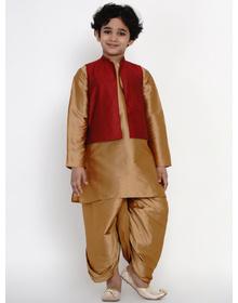 BITTU BY BHAMA GOLDEN DHOTI KURTA WITH MAROON WAISTCOAT SET