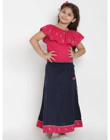 Bitiya by Bhama Girls Fuchsia Pink & Navy Blue Top with Skirt