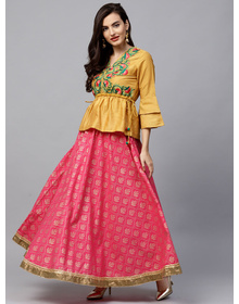 Bhama Couture Women Mustard Yellow & Pink Embriodered Top with Skirt
