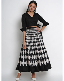 Bhama Couture Women Black & White Solid Top with Skirt
