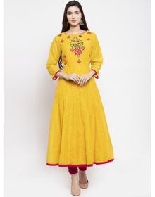 Bhama Couture Women Yellow Yoke Design A-Line Kurta