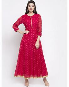 Bhama Couture Women Fuchsia & Gold-Coloured Woven Design Anarkali Kurta