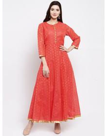Bhama Couture Women Orange & Gold-Coloured Woven Design Anarkali Kurta