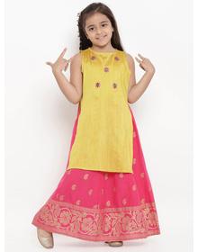 Bitiya by Bhama Girls Yellow & Pink Embroidered Kurta with Skirt