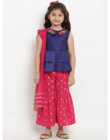 Bitiya by Bhama Girls Blue & Pink Embroidered Kurta with Sharara & Dupatta