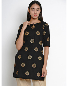 Bhama Couture Women Black & Gold Floral Print Straight Kurti