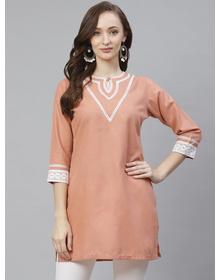 Bhama Couture Peach-Coloured Solid Straight Kurti