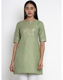 Bhama Couture Women Green Kurti with Lace Detailing