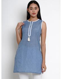 Bhama Couture Women Blue & White Lace Detailing Straight Kurti