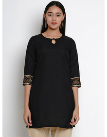 Bhama Couture Women Black & Gold-Coloured Solid Kurti