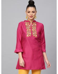 Bhama Couture Women Pink Yoke Design A-Line Kurti