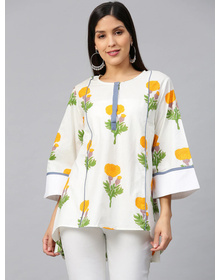 Bhama Couture Off-White & Yellow Printed A-Line High-Low Kurti