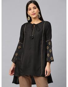 Bhama Couture Black Self-Design A-Line High-Low Kurti