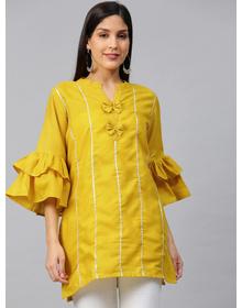 Bhama Couture Women Mustard Yellow Bell Sleeves Gotta Patti Striped Straight Kurti