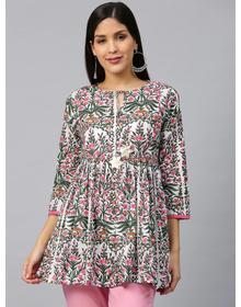 Bhama Couture White & Pink Printed A-Line Empire Kurti