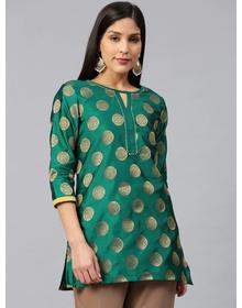 Bhama Couture Women Green & Golden Woven Design Silk Straight Kurti