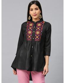 Bhama Couture Women Black & Pink Yoke Design High-Low Kurti