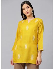 Bhama Couture Women Mustard Yellow & Off-White Embroidered Straight Kurti