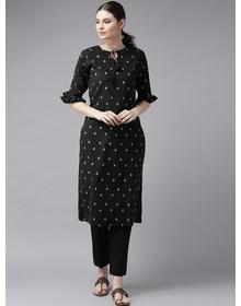 Bhama Couture Women Black & Golden Block Printed Straight Kurta