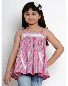 Bitiya by Bhama Girls Pink Checked A-Line Top