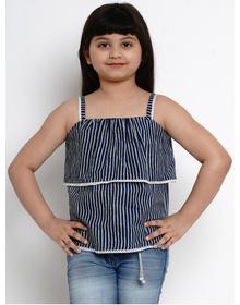 Bitiya by Bhama Girls Navy Blue Striped A-Line Top