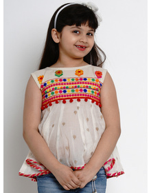 Bitiya by Bhama Girls Off-White Embroidered A-Line Top