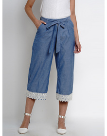 Bhama Couture Women Blue Smart Loose Fit Solid Culottes