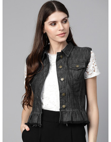 Bhama Couture Women Charcoal Grey Solid Denim Jacket