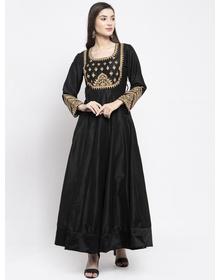 Bhama Couture Women Black & Gold-Coloured Embellished Anarkali Kurta
