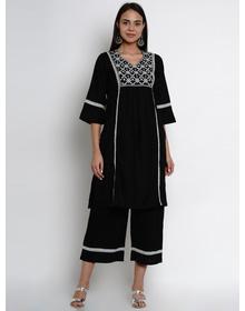 Bhama Couture Women Black Embroidered Kurta with Palazzos