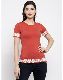Bhama Couture Women Rust Red Solid Round Neck T-shirt