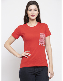 Bhama Couture Women Red Solid Round Neck T-shirt