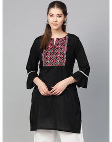 Bhama Couture Women Black & Pink Solid Tunic
