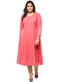 Love More Pink And Gold Printed Anarkali Kurta