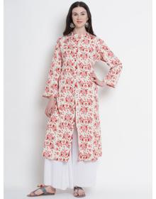 Love More Women Pink & White Printed A-Line Kurta
